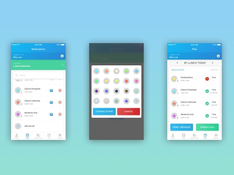 Medminder App food application beautiful pills blue green medicine ux ui design app