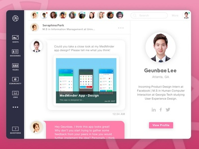 Daily UI Challenge #13 - Direct Messaging profile message pink dribbble app dashboard web design challenge ux ui daily