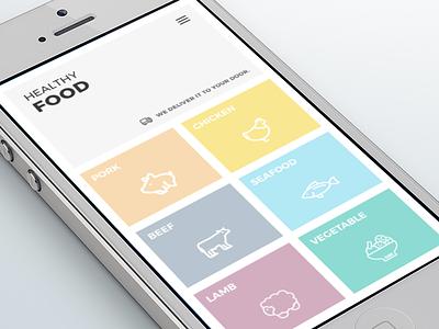 Healthy Food Delivery App Design page landing health 2d app delivery food design ux ui