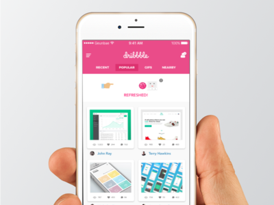 Dribbble - Pull To Refresh concept pink refresh pull 2d app dribbble design ux ui