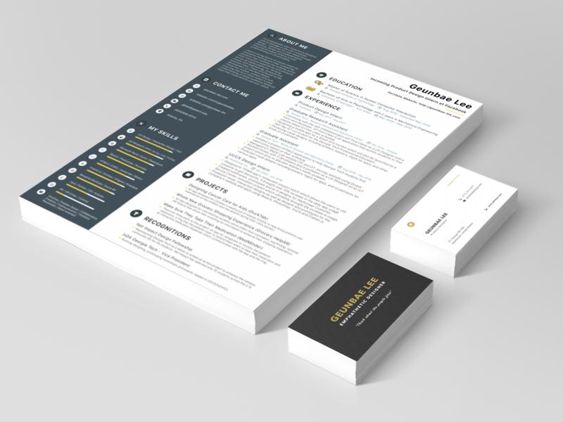 Resume and Business Card cv app web 2d card business resume design ux ui