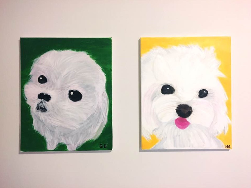 Canvas Painting - My Puppies pet puppy dog maltese art canvas paint painting