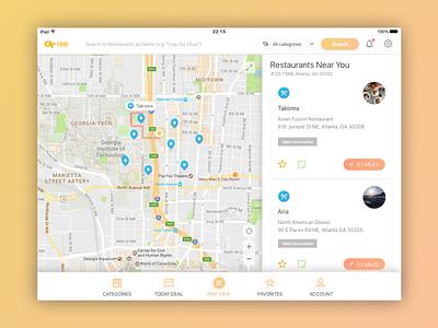 Daily UI Challenge #20 — Location Tracker ipad restaurant food map tracker location challenge daily design ux ui