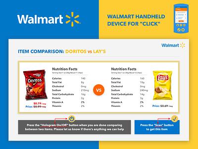 Walmart Hologram UI Design store grocery item logo hologram device handheld design ux ui walmart