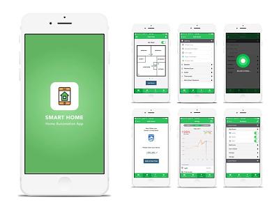 Smart Home - App Design device map green automation home smart design ux ui
