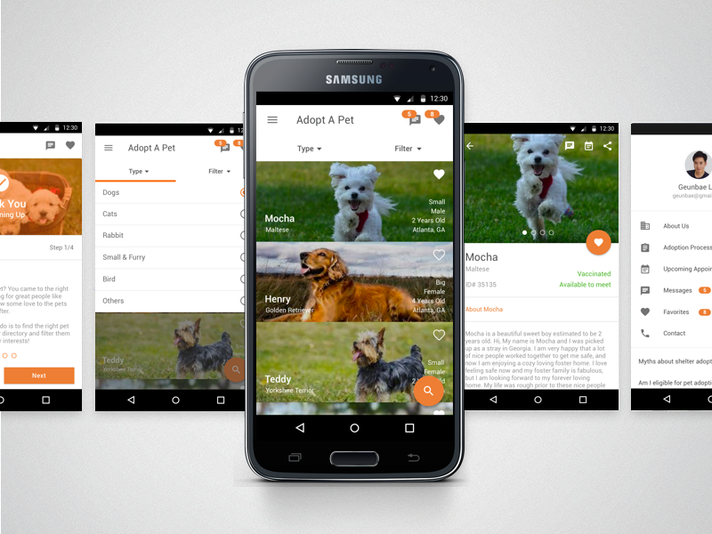 Pet Adoption - Mobile Application cat dog samsung android app mobile animal adoption pet design ux ui