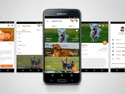 Pet Adoption - Mobile Application cat dog samsung android app mobile animal adoption pet design ux ui