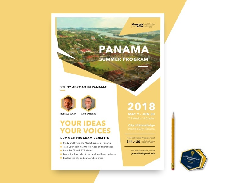 Panama Summer Program Flyer - Georgia Tech typography a4 panama summer visual pamphlet poster flyer ux ui design graphic