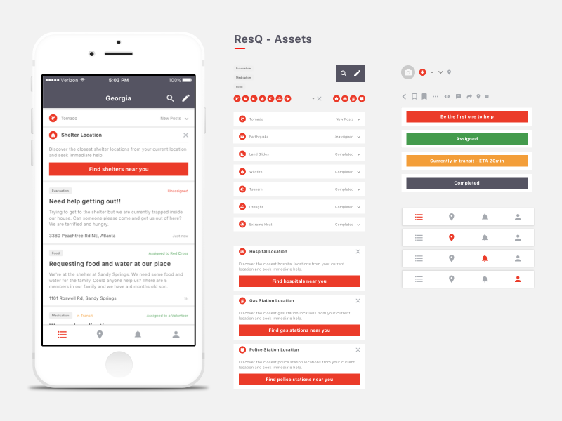 ResQ App - Design Assets color showcase layout iconography mobile app sketch asset icon design ux ui