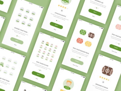Daily UI Challenge #23 — Onboarding Design (Soccer Game App) 023 ui soccer rating prototype showcase onboarding mobile interaction daily challenge