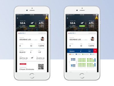 Daily UI Challenge #24 — Boarding Pass Design 023 daily challenge boarding pass delta airline airplane mobile travel ticket profile
