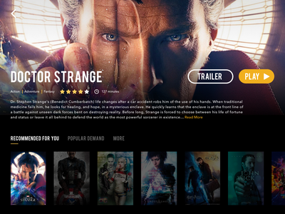 Daily UI Challenge #25 — TV App (Dr. Strange) daily ui 025 tv app netflix movie video slider poster principle prototype