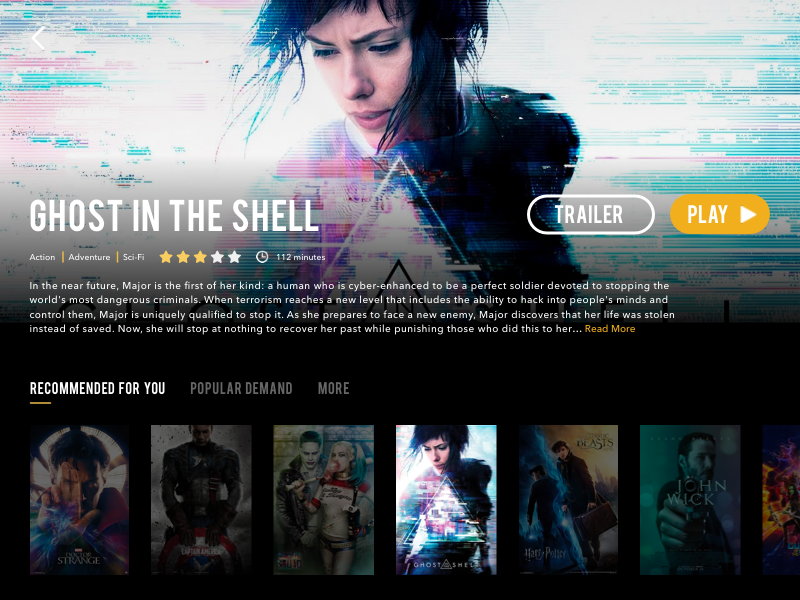 Daily UI Challenge #25 — TV App (Ghost in the Shell) daily ui 025 tv app netflix movie video slider poster principle prototype