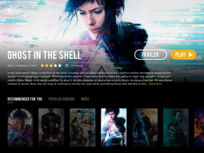 Daily UI Challenge #25 — TV App (Ghost in the Shell)