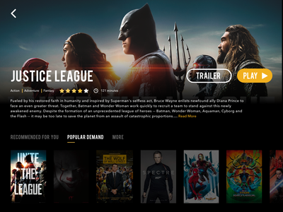 Daily UI Challenge #25 — TV App (Justice League) daily ui 025 tv app netflix movie video slider poster principle prototype