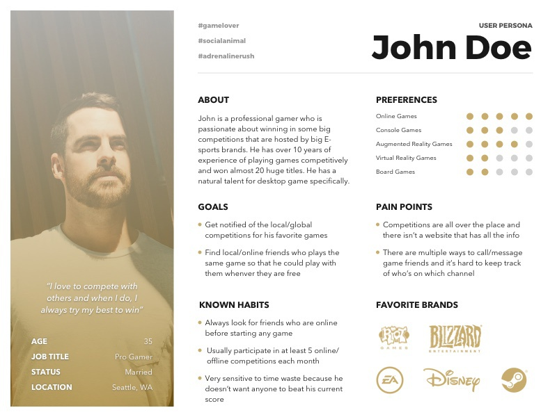 [Free Template] User Persona (Pro Gamer) freebie sketch gamer pro professional online yellow template ux persona user