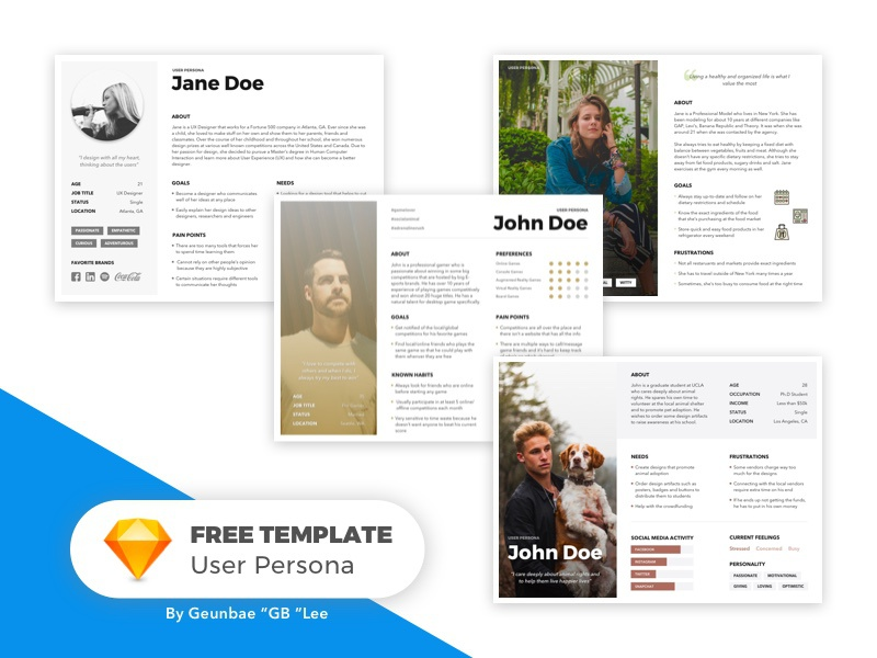[Free Template] User Persona Bundle journey freebie sketch template ux persona user