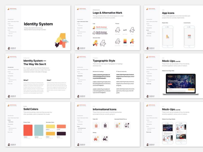 Identity System: Atlanta North Avenue Smart Corridor typography colors icons mocks city smart atlanta sketch system identity brand