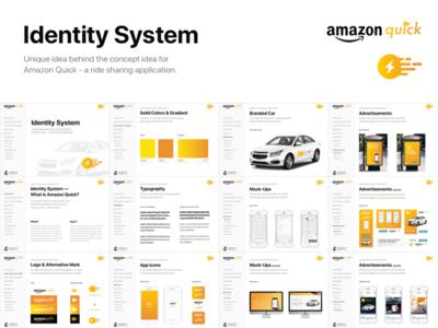 [Brand Identity] Amazon Quick - Ride Sharing App concept ads advertisement app share ride amazon design system identity brand