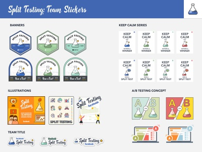 Facebook Ads - Split Testing Stickers sketch illustration facebook swag sticker design sticker