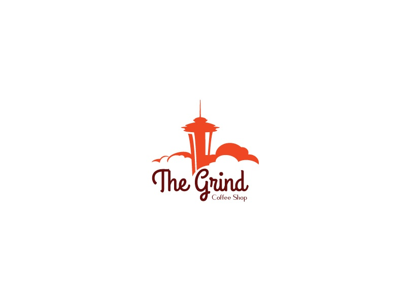 The Grind Coffee Shop thirtylogos thirtylogoschallenge grind the grind logo design logo coffee shop coffee space needle seattle thirty logo
