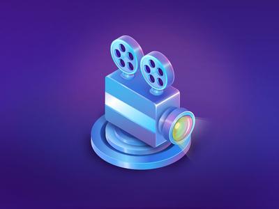 movie projector game movie film lens ui design ife icon