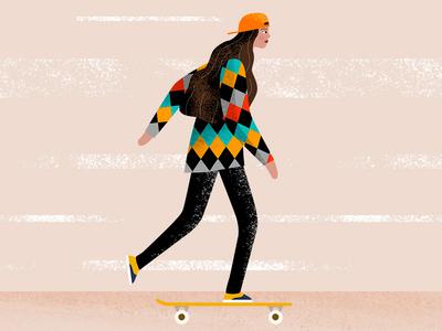 Skater girl photoshop illustration character design character