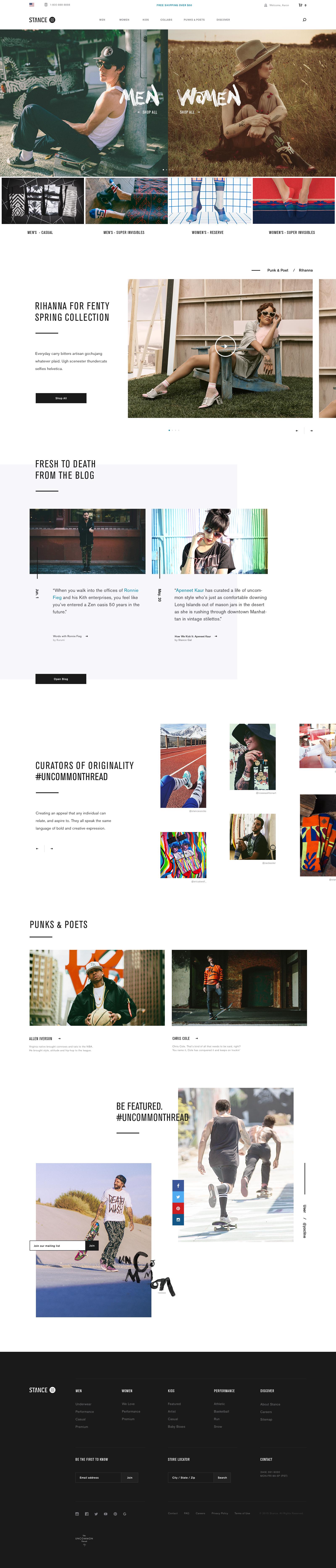 Stance homepage 1320 desktop