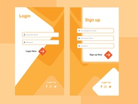 UI design for sign up and login