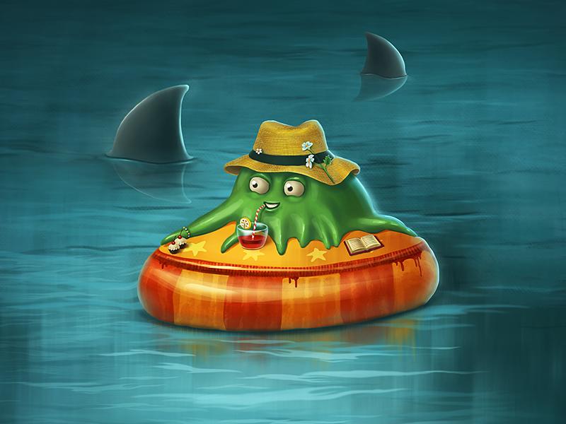 Vacationer character shark travel drink hat sea vacation