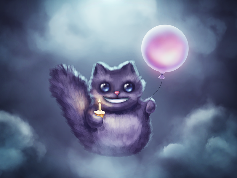 Happy Birthday, Borodox! night clouds moonlight balloon smile cat cake birthday
