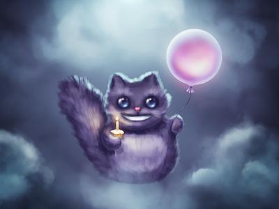 Happy Birthday, Borodox! night clouds moonlight balloon smile cat cake birthday