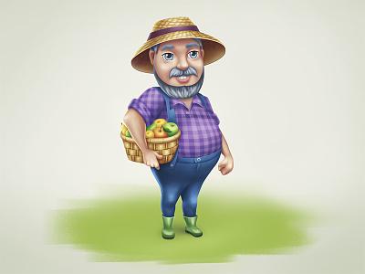 Farmer Phil harvest fruits illustration farmer character