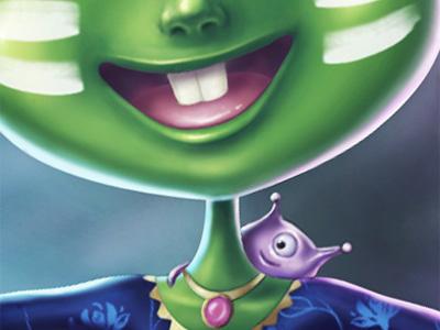 Aliens green illustration cute smile alien character aliens