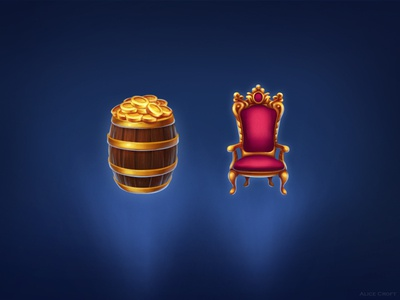 Throne and barrel of gold