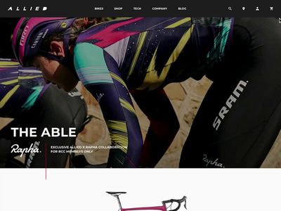 Allied Cycle Works - Rapha Bike ecommerce landing page product page cycling bike website