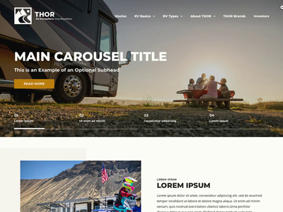 Thor Industries - Home Page camper recreation layout home page camping outdoors website