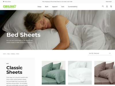 Cariloha Category Page desktop category page bed website mattress bedding sheets ecommerce web