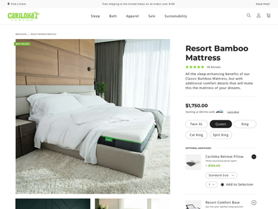 Cariloha Product Page ecommerce sleep desktop pdp product page sheets bed mattress website web
