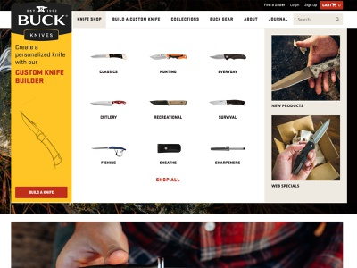 Buck Knives Navigation web website navigation dropdown menu homepage camp outdoors ecommerce knife knives buck