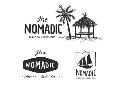 The Nomadic logo beach mountains typography type handcrafted illustration hand drawn