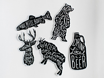 Sticker Pack outdoors forrest national park woodcrest sketch typography handcrafted handmade illustration hand drawn stickers
