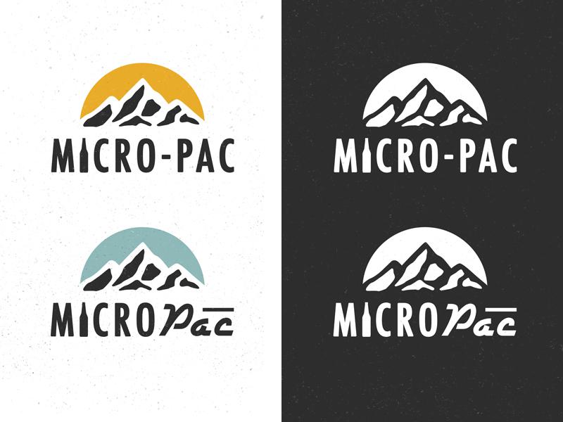 Micro-Pac Logo badge illustration mountains branding logo