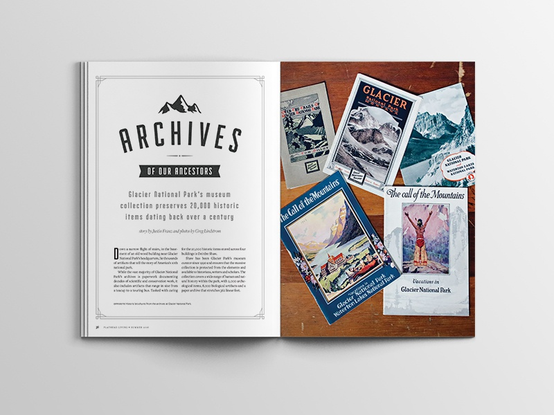 Glacier Archives / Flathead Living Mag glacier national park editorial typography illustration publication magazine layout