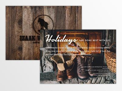 Izaak Walton Inn advertising 5x7 mailer invite card holidays christmas wood postcard print