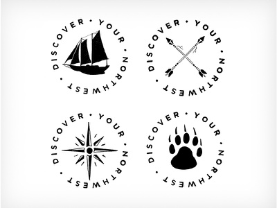 Discover Your Northwest outdoors sketch handmade hand drawn circle badge adventure discover northwest illustration logo