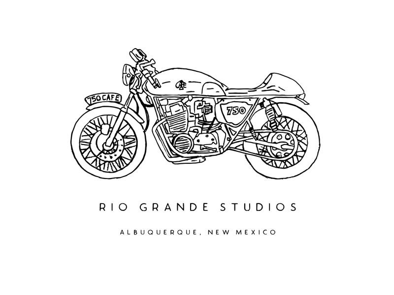 Rio Grande Studios handcrafted hand drawn handmade shirt studio cafe moto illustration