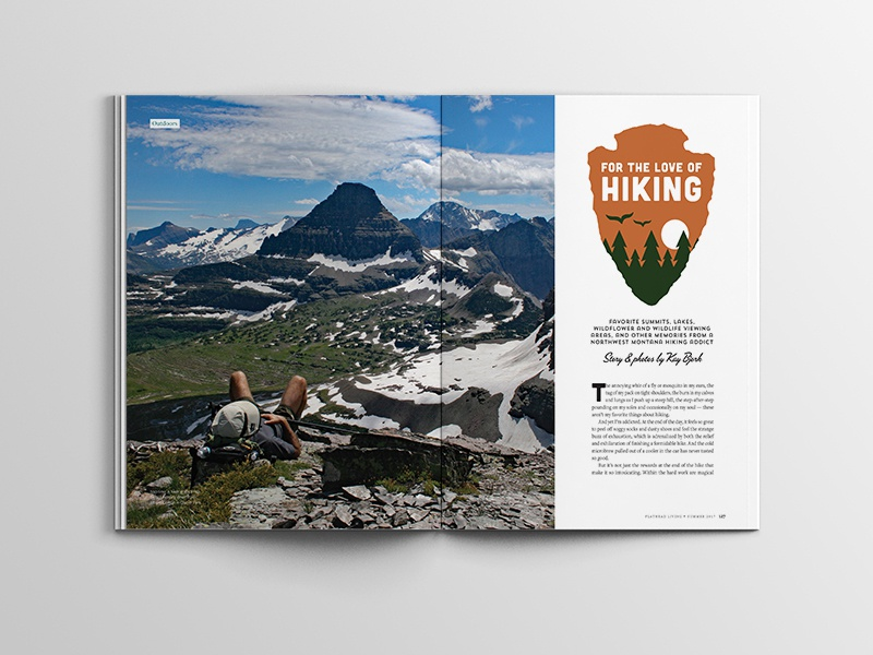 For the Love of Hiking glacier national park magazine layout illustration hiking editorial badge logo