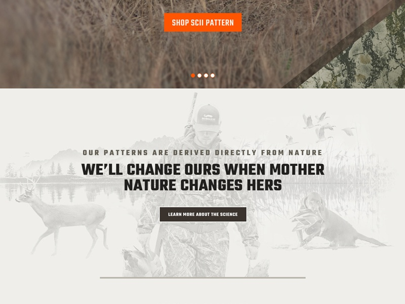 Natural Gear Home responsive ux ui photo collage outdoors hunting website web home