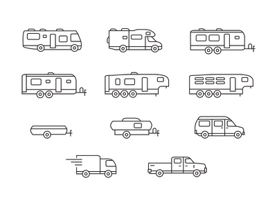 RV Icon Set vehicle camping illustration trailer travel outdoors camper rv linear line iconography icon